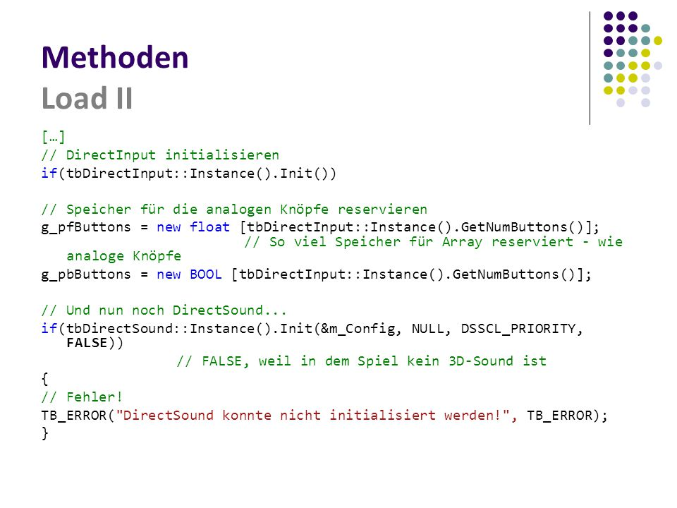 Methoden Load II […] // DirectInput initialisieren